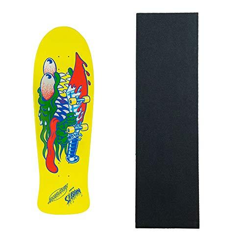 Santa Cruz Skateboard Deck Slasher Raised Ink Neon Yellow Dip with - Slasher Deck
