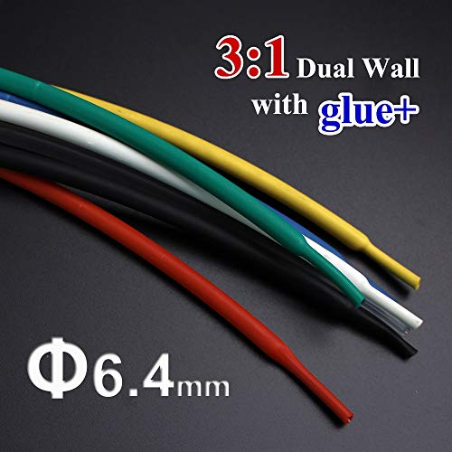 Graven 1meter/lot 6.4mm 3:1 Dual Wall Heat Shrink Tube with Thick Glue heatshrink Tubing Adhesive Lined Cable Sleeve Wrap Wire Kits - (Color: White) ()
