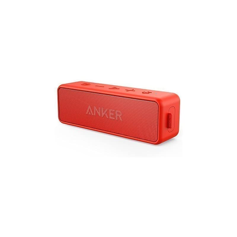 Anker SoundCore 2 Portable Bluetooth Speaker Better Bass, 24-Hour Playtime, 66ft Bluetooth Range, IPX5 Water Resistance & Built-in Mic, Dual-Driver Wireless Speaker (Red)