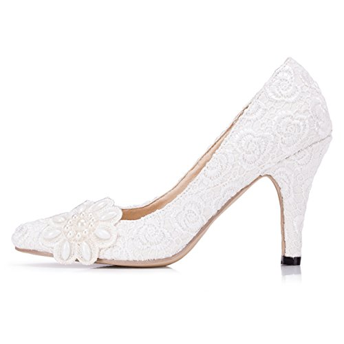 Kevin Fashion Zms1538 Womens Elegant Flowers Lace Bridal Wedding Party Evening Prom Pumps Shoes White