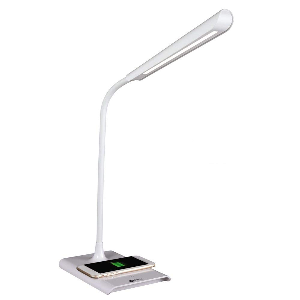 OttLite Power Up LED Desk Lamp with Wireless Charging 3 Brightness Settings, Reduces Eye Strain, 2.1A USB Port, Qi Wireless Charging Great for Home, Office, Workshop, Dorm