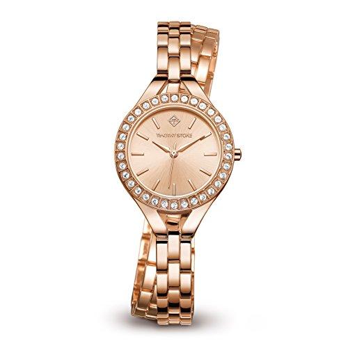 Timothy Stone Women's Joliet Rose Gold Tone Double Wrap Watch - Swarovski Crystal Embellished Bezel Quartz Movement Wrist Watch J-011-ALWRG (Womens Crystal Swarovski Automatic)