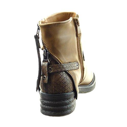 Sopily - Scarpe da Moda Stivaletti - Scarponcini biker alla caviglia donna pelle di serpente zip tanga Tacco a blocco 4 CM - soletta pelliccia - Cammello
