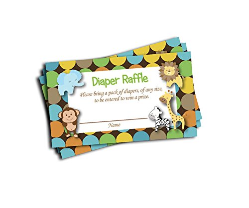 Safari Theme Baby Shower (Jungle Printed Diaper Raffle Tickets Boy Neutral Baby Shower (50-cards))