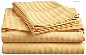 Crafts lino algodón egipcio satén de 500-thread-count One sábana bajera y dos fundas de almohada doble (+ 30cm) bolsillo profundidad, dorado