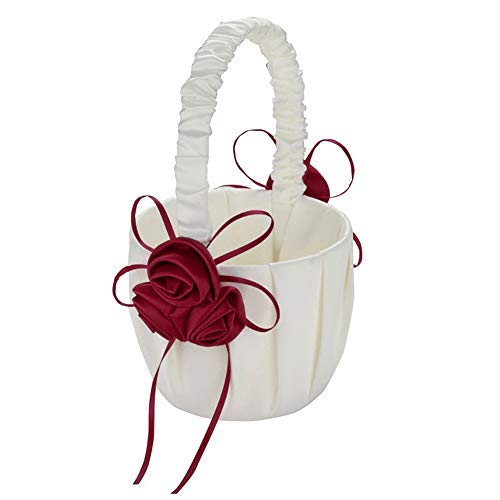 heaven2017 Faux Rose Flower Basket Wedding Bridal Page Boy Ribbon Satin Party Decoration Basket Wine Red