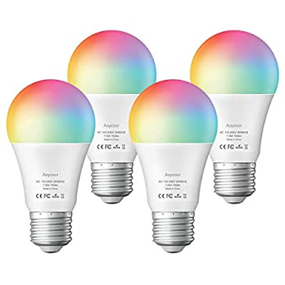 Smart Light Bulb, Daylight Multicolor Led Bulbs A19 Work with Alexa, Echo, Google Home and IFTTT(No Hub Required) 75W Equivalent RGB Color Changing, UL Listed, 4 Pack