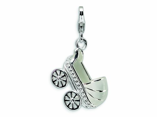 (Amore LaVita Sterling Silver 3-D Enameled Baby Carriage Lobster Clasp Bracelet Charm )