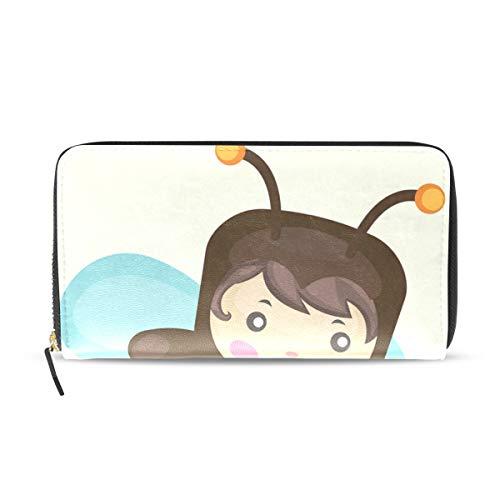 Womens Wallets Honey Bee with Bucket Leather Passport Wallet Coin Purse Girls Handbags (Female Honey Bucket)