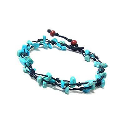 hot sell Blue Turquoise Color Bead Anklet. Handmade Stone Anklet Fashion Jewelry for Women, Teens and Girls. free shipping