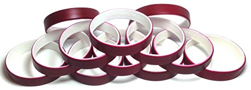 - 1 Dozen Multi-Pack Maroon ColorSpray on White Wristbands Bracelets Silicone Rubber - Select from a Variety of Colors (Maroon on White, Adult (8