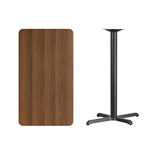 Flash Furniture 24'' x 42'' Rectangular Walnut Laminate Table Top with 22'' x 30'' Bar Height Table Base by Flash Furniture