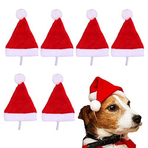 Adasea 6 Pcs Dog Hat Small Pet Santa Cute Birthday Party For