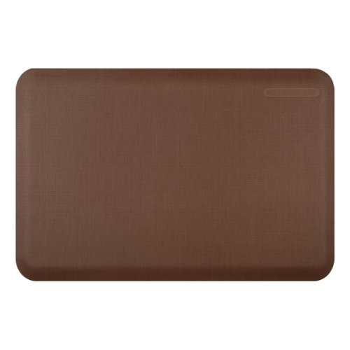 WellnessMats Anti-Fatigue 36 Inch by 24 Inch Linen Motif Kitchen Mat, Brown by WellnessMats