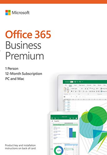- Microsoft Office 365 Business Premium | 12-month subscription, 1 person, PC/Mac Activation Card by Mail