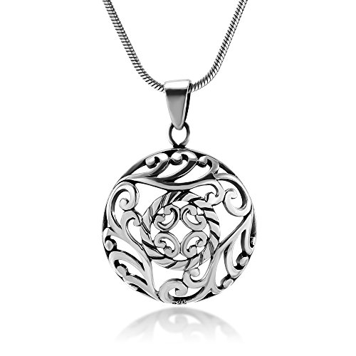 Chuvora Sterling Silver Asian Inspired Open Filigree Leaf Vine Round Pendant Necklace 18