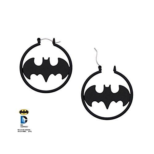 Batman Black Plated Hoop Earrings - Licensed Jewelry