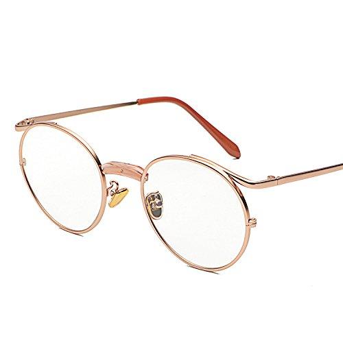 Beam Espejo plano gafas metal GSHGA retro Single MAIDIS gafas gold sol de Rose fashion estudiante waqYtp