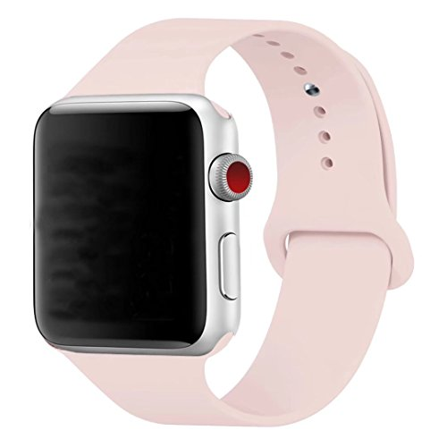 Price comparison product image Band for Apple Watch 38mm, Guangzhi New Design (Metal Tuck Clasp Ouside/Correct Wearing Way in 4th Image) Soft Silicone Sport Strap Band for iWatch Series 1/2/3, Sport, Edition,38mm,Pink Sand