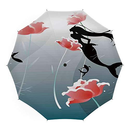 Folding Umbrella,Mermaid Decor,for Women Men Vinyl Anti-UV Lightweight 45 Inch,Mermaid Swimming Silhouette Underwater Flowers Blossoms Freedom ()
