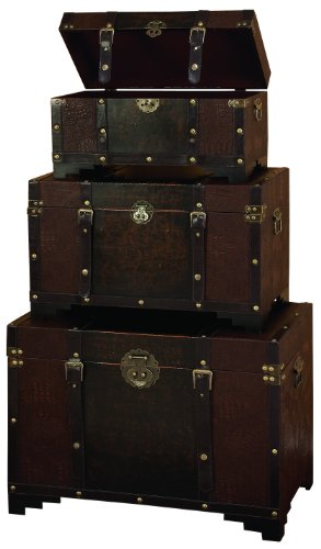Set Trunk - Deco 79 Classic Old Time Leather N Wood Chest Trunk, Brown, Set of 3