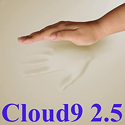 Waterproof Cover and Contour Pillow included with 2.5 Cloud9 Gel-Enhanced 2 Inch 100% Visco Elastic Memory Foam Mattress Topper