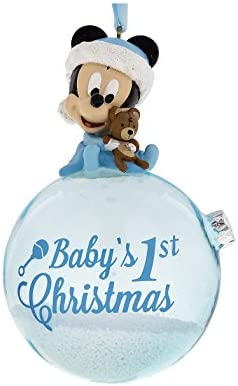 Baby/'s 1st Christmas Snow Globe with Teddy Pink