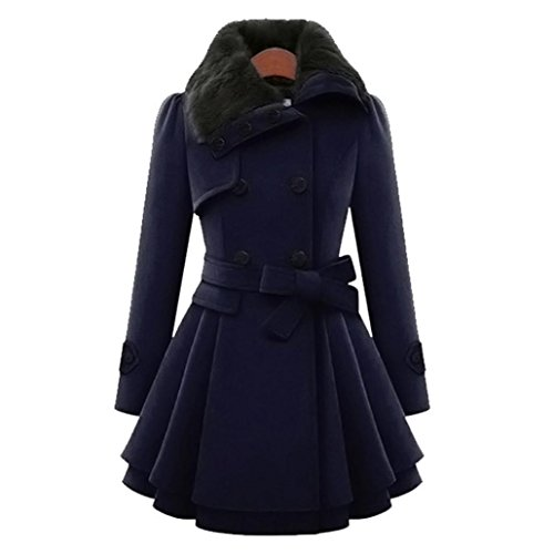 OverDose,Manteau Coupe Patineuse Femme Parka Fausse Fourrure Hiver Doudoune Overcoat Bleu Marine