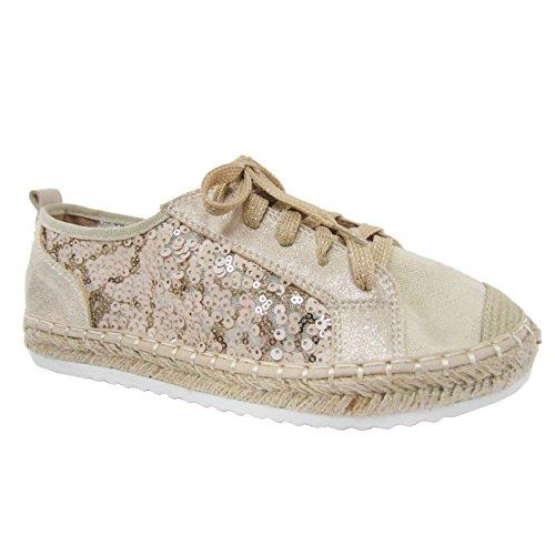 Snj Kvinna Platt Snörning Glitter Mode Glittrande Sneaker Beige Glitter Spets Up-2