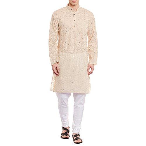 ShalinIndia Mens Embroidered Cutwork Cotton Kurta With Churidar Pajama Trousers Machine Embroidery,Beige Chest Size: 36 Inch by ShalinIndia