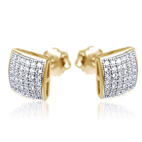Mens Ladies 10k Yellow Gold Designer Square Micro Pave Diamond Earrings Studs ()