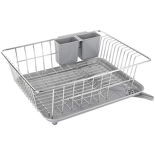 Dish Drying Rack with Drain Board, Whitgo Stainless Steel Dish Drainer Drying Rack with Utensil Holder for Kitchen Counter, Dish drain rack with One Cleaning Cloth (Stainless Steel Dish Rack With Drainer Tray)