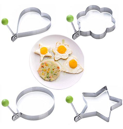 Asemy 4PCS Fried Egg Poacher Stainless Steel Cooking Fried Chef Molds Kitchen Pancake Rings Burgers Eggs