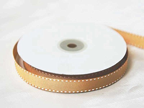 "Tableclothsfactory 5/8"" Grosgrain Ribbon with Stitched Edges-Gold"