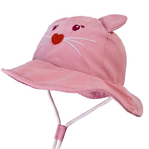 (LANGZHEN Kids Sun Protection hat Cute Animals Designed Toddler Boys Girls Bucket Hat (Pink - cat, XL: 4T-8T (54cm /21.3
