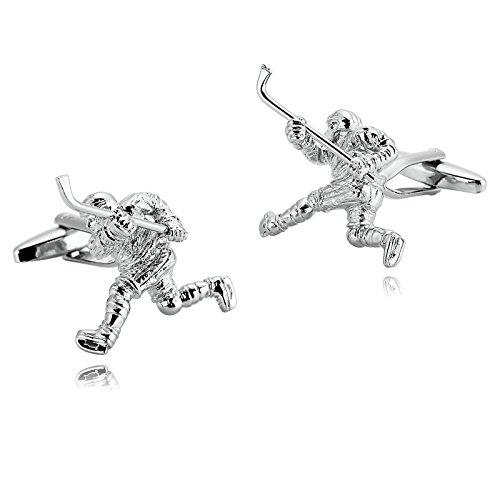 Aooaz Mens Stainless Steel Cufflinks Silver Ice Hockey Player Shirt Business Wedding 3X2.9CM [Gift Box]