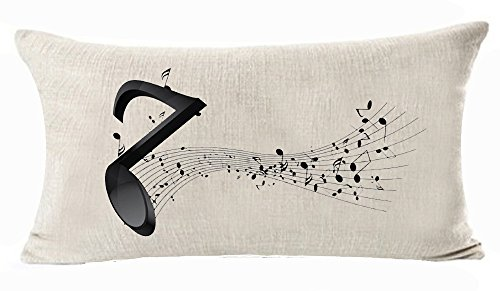 (Beautiful Simple Music Theme Black Musical Notes Sheet Music Cotton Linen Throw Lumbar Waist Pillow Case Cushion Cover Home Office Decorative Rectangle 12 X 20 Inches)