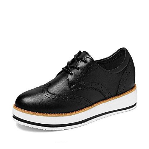 Zapatos de Mujer Spring Fall New Ladies Zapatos Bajos Gruesos, Zapatos de Cuero Estilo Británico, para Oficina y Vestido Profesional Un