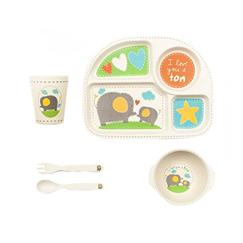 Tiny Footprint 63071 5-Piece Bamboo Toddler Feeding Set, Elephant Print Bamboozle TF0761ES