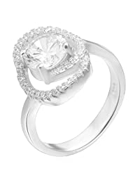 Epinki 925 Sterling Silver Women Wedding Engagement Ring Hollow Oval Round Crystal Silver