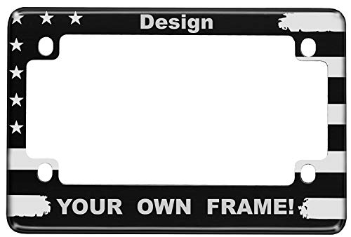 Motorcycle Personalized Patriotic American Flag Anodized Aluminum Custom License Plate Frame (Black)
