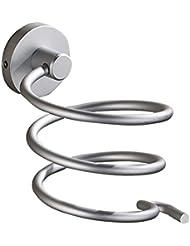 Aluminum Wall Mount Spring Style Hair Dryer Holder Rack Hair Drier Storage Organizer, Hair Blower Holder with Plug Hook