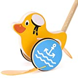 Safe&Care Baby Toddler Push Along Toys, Push Pull Wooden Toy 23 inch Natural, Non Toxic Walking Toys for Baby Toddlers Kids and Children Push Pull Along Duck(Yellow)