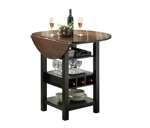 Bernards Ridgewood Drop Leaf with Wine Rack Table, Black and Mahogany Finish - Pub Table Dinette