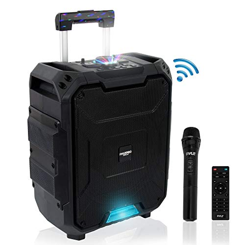 - Portable Active PA Speaker System - 700W Wireless Bluetooth Compatible Battery Powered Rechargeable Outdoor Sound Speaker Karaoke Microphone Set w/ MP3 USB FM Radio AUX, DJ LED Lights - Pyle PWMDJ88BT