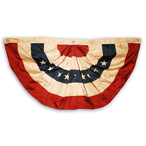 (Texupday 2x4 Ft Tea Stained Antique US American Flag Patriotic Stars & Stripes Bunting Half Fan Pleated)