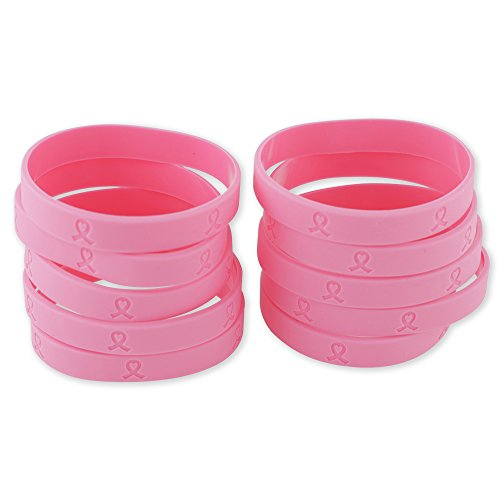 Pink Ribbon Heart October Breast Cancer Awareness Silicone Bracelet (10) -