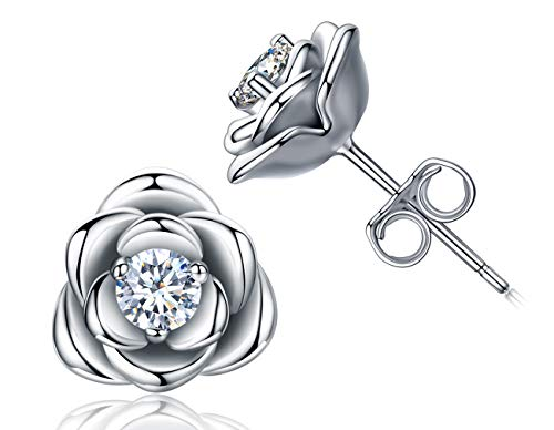 Gold Plated Sterling Silver Rose Flower Stud Earrings, Hypoallergenic & Nickel Free Earrings for Women