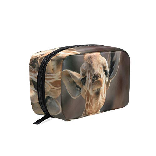 Portable Organizer Makeup bag,Cute Small Giraffe Cosmetic Bags Multi Compartment Travel Pouch Storage for Women