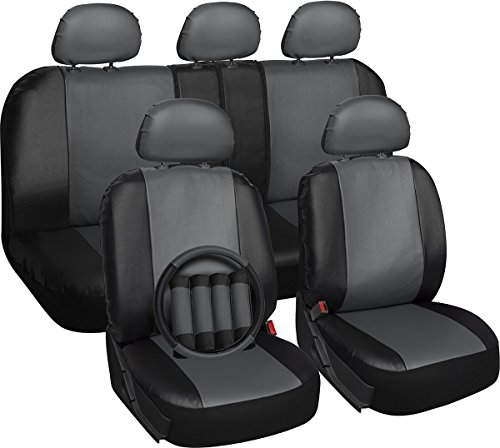 OxGord 17pc PU Leather Car Seat Cover Set - Airbag - Front Low Back Buckets - Universal Fit for Car, Truck, SUV, Van - Steering Wheel Cover